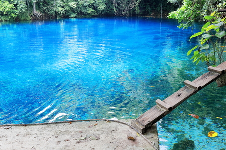 step well: Blue holes are natural features that occur when mineral water comes up from limestone ground and this causes the water to be transparent and iridescent blue. Espiritu Santo island-Sanma prov.-Vanuatu.