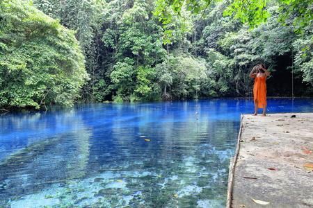 Blue gaten zijn natuurlijke kenmerken die optreden wanneer mineraalwater omhoog komt uit kalksteen grond en dit zorgt ervoor dat het water om transparante en iriserende blauw zijn. Espiritu Santo eiland-Sanma prov.-Vanuatu.