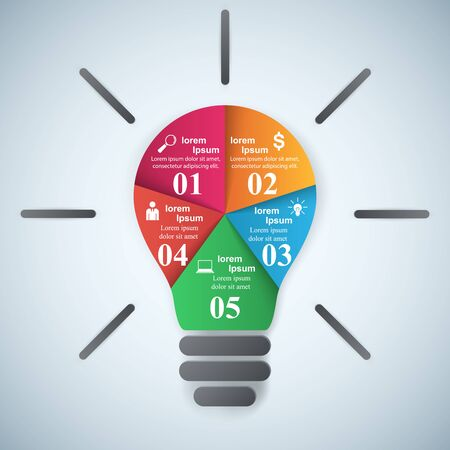 switch off: Infographic design template and marketing icons. Bulb icon. Light icon.