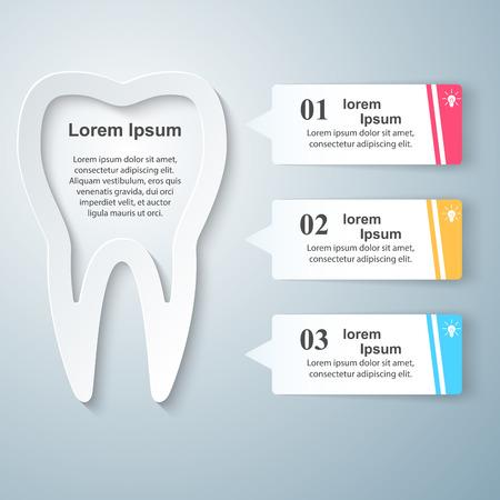 comunicacion oral: Infografía de negocio ilustración del estilo de Origami. Icono de diente. Vectores