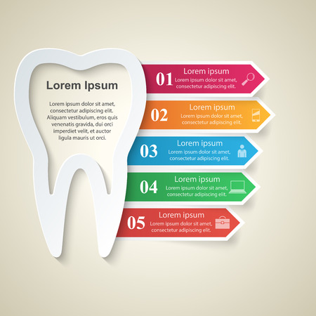 oral communication: Business Infographics origami style Vector illustration. Tooth icon.