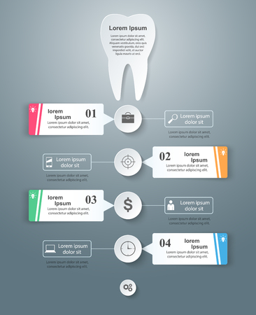 comunicacion oral: Business Infographics origami style Vector illustration. Tooth icon.