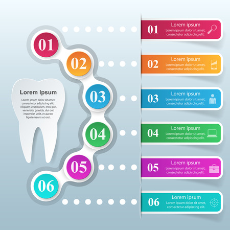 comunicacion oral: Business Infographics origami style illustration. Tooth icon.