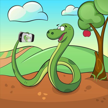 Funny snake, smartphone, apple and tree.