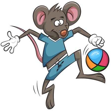 Cute mouse is actively engaged in the sport.