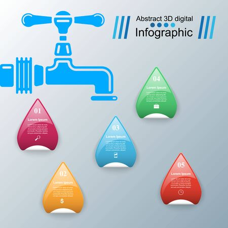 Tap illustration.  Infographic design template and marketing icons.