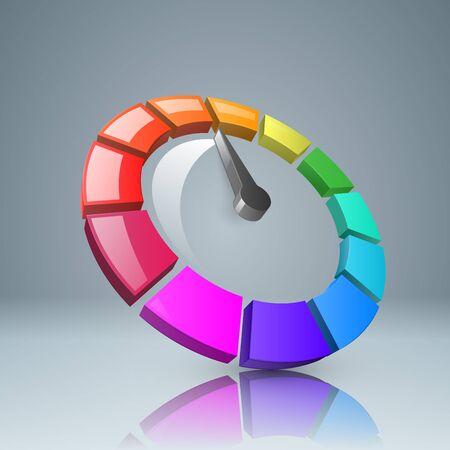 インフォ グラフィック デザイン テンプレートとマーケティングのアイコン。スピード メーターのアイコン。上矢印アイコン。