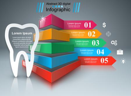 comunicacion oral: Infografía de visita del estilo de origami vector. Icono de diente. Vectores