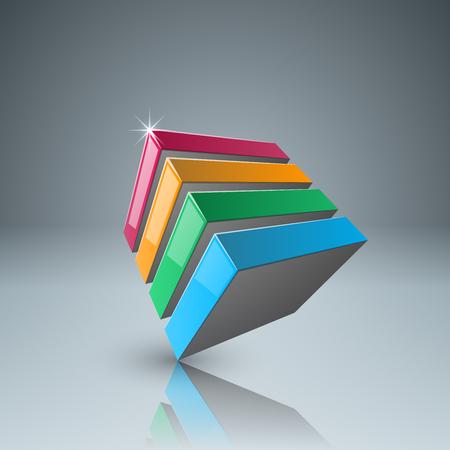 Logo de boîte abstraite sur fond gris.