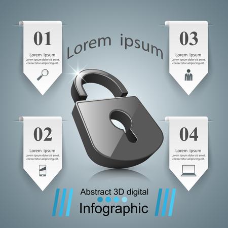 Business Infographics origami style Vector illustration. Lock logo.