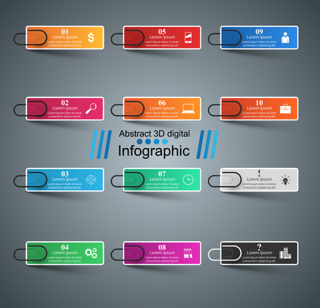 numbers background: 3D infographic design template and marketing icons. Clip, pin icon.