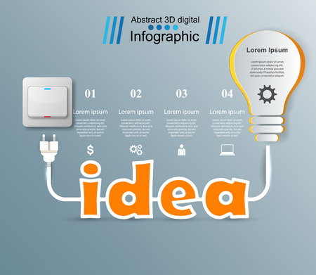 numbers background: Infographic design template and marketing icons. Bulb icon. Light, idea icon.