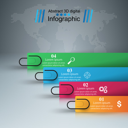 numbers background: 3D infographic design template and marketing icons.