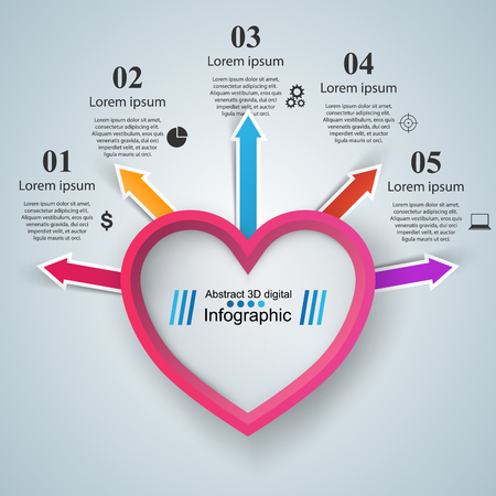 numbers background: Infographic design template and marketing icons. Heart icon.