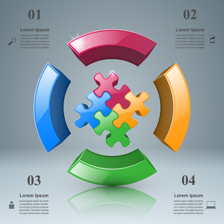 piece: 3d puzzle icon on the grey background. Illustration