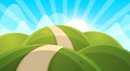 Cartoon landscape illustration. Sun. cloud hill vector EPS 10 Illustration