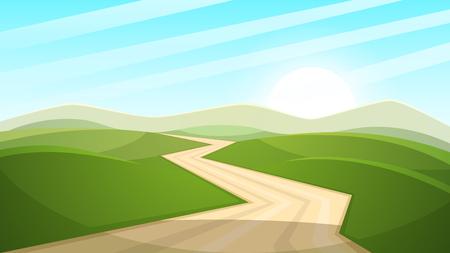 Illustration de paysage de dessin animé. Soleil. route, nuage colline vecteur eps 10