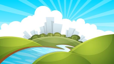 Landscape, city, river cloud sun Vector eps 10