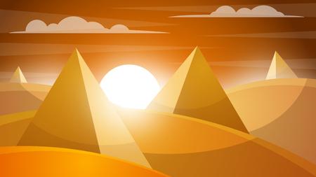 Desert landscape. Pyramid and sun. Vector eps 10