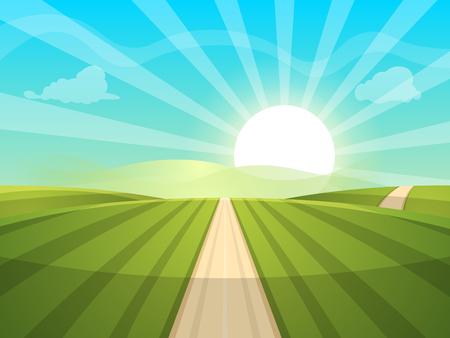 Cartoon landscape illustration. Sun. road, cloud hill vector illustration.  イラスト・ベクター素材