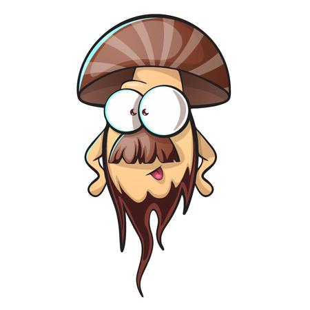 Cartoon mushroom with beard. vector illustration.