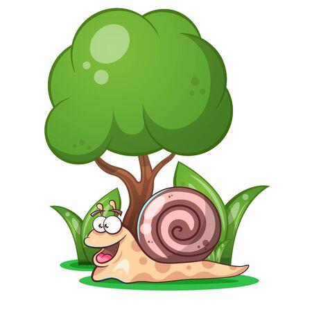 Snail, animals, tree grass cartoon characters illustration