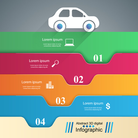 Travelling car in city Business Infographics origami style Vector illustration