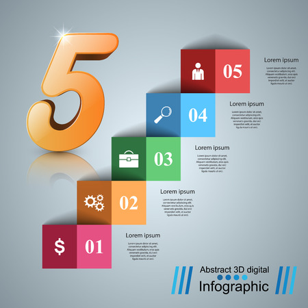 3D infographics and business ladder. Vector, eps 10