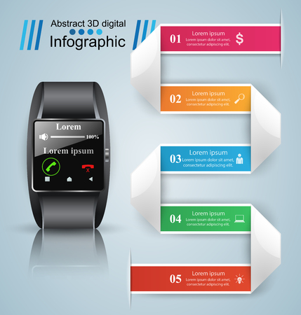 numbers abstract: 3D infographic design template and marketing icons. Business Infographics origami style Vector illustration. Smartwatch icon.