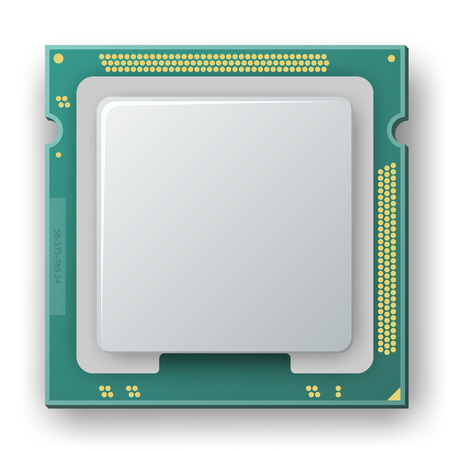 electronic components: microprocessor, chip, electronic components icon on the white background Illustration