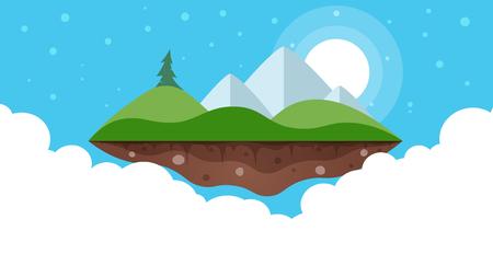 漫画島の風景イラスト  イラスト・ベクター素材