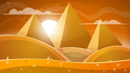 Desert landscape with pyramids.