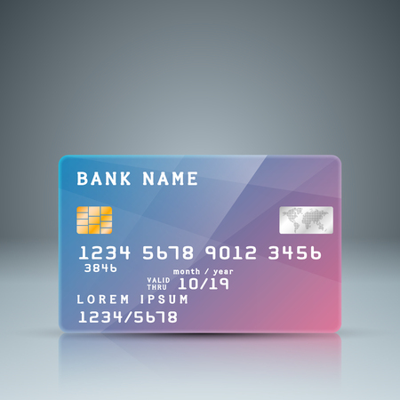 girl laptop: bank card with reflect. Card number is random. Vector, eps 10
