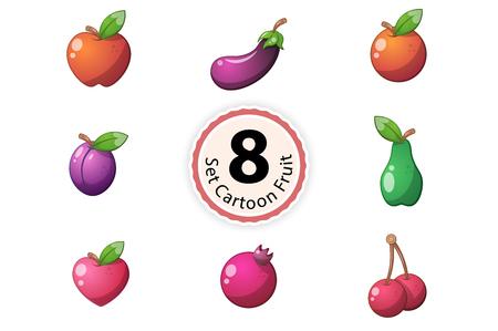 Set Fruit. Orange, apple, eggpalnt, plum pear heart cherry garnet Vector eps 10 Illustration