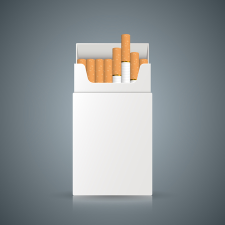 A packing of cigarettes on the grey background. Vector, eps 10 Çizim