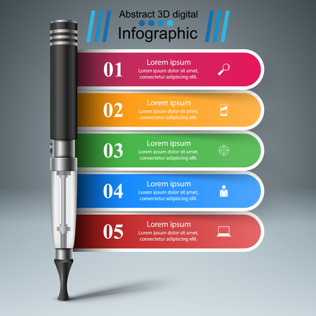Electronic cigarette business info graphic  template.