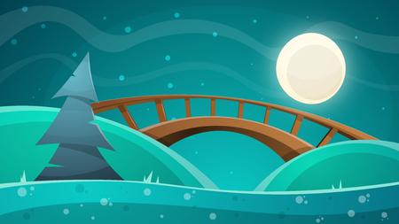 Cartoon night landscape. Moon, bridge, fir sky illustration - vector eps 10