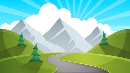 Travel day cartoon landscapen. Mountain, fir, road illustation Vector eps 10