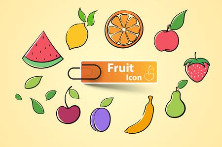 Set color fruit icon. Vector eps 10 Illustration