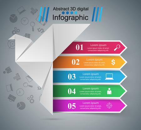 Origami dove - business infographic. Vector eps 10 Ilustracja