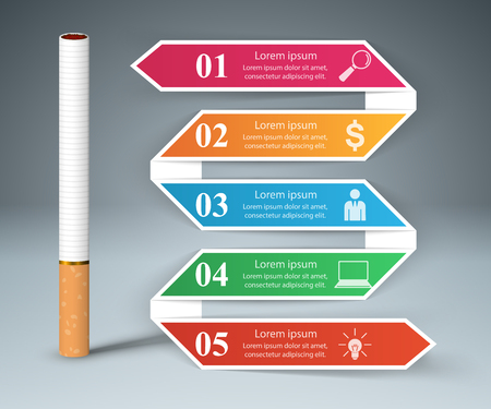 Business illustration of a cigarette and harm. Illustration