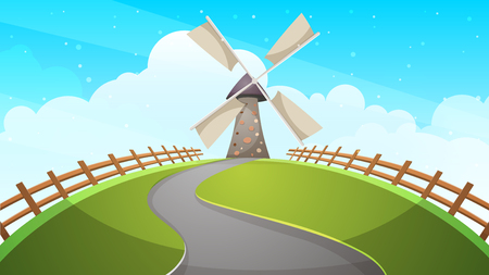 Mill, fence, road - cartoon illustration Vector eps 10