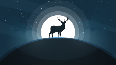 Deer on the hill - cartoon landscape. vector illustration.