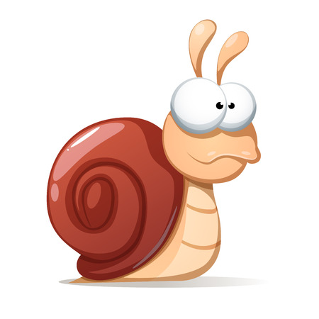 Funny, cute snail illustration. Shadowand reflect Vector eps10 Illustration