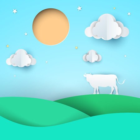 Paper origami style cow, meadow, sun cloud vector eps 10