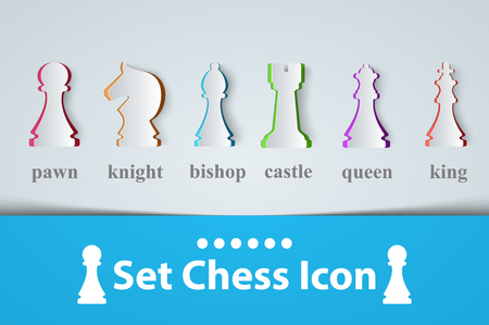 Chess icon King, Queen, Castle Bishop Knight Pawn Vector.