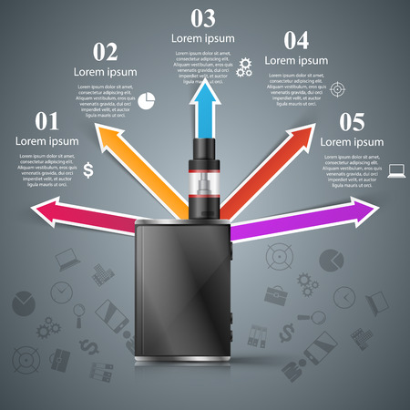 Business illustration of a cigarette and harm with 5 options.