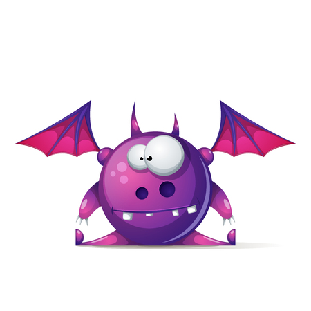 Funny, cute cartoon monster characters vector illustration