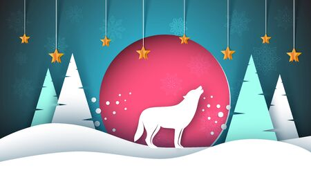 Lone wolf howls to the moon. Merry christmas, happy new year. Winter paper illustration. Illustration