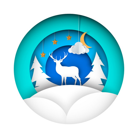 Paper winter illustration. Deer, fir, moon cloud star Vector